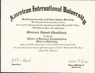 MBA Degree From American International University