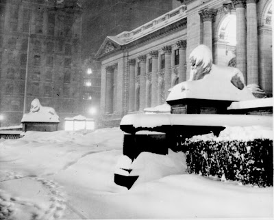 NYC Library in Snow via WikiCommons