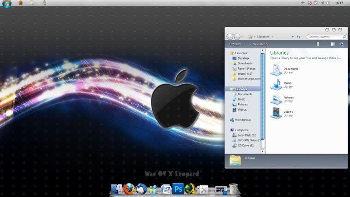 Tema de Mac Snow leopard para windows 7 - YouTube