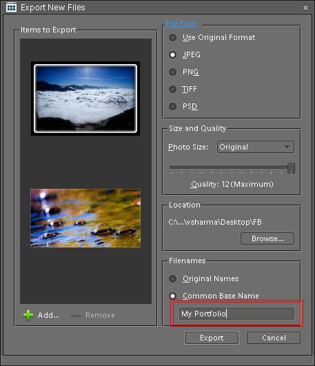 Posted by Ripple (VJ) : Preparing photographs for your Blog/Wesite by using Batch Processing in Adobe Photoshop Elements for resizing, renaming and exporting into new file-type: As discussed in last post we can also do batch processing in organizer for exporting low resolution files for my blog or website. I prefer this method when I don't need watermarks, because this mechanism does not support adding Watermarks.Lets come to the point and discuss how to do this. I will proceed with the workflow I prefer.1. SELECT YOUR FILES AND OPEN EXPORT DIALOGNormally I organize my similar or relevant photographs through Albums in PSE Organizer. I select my Album and it shows all the files in Organizer Image-well. Press CTRL+A to select all the files in album which I want to export. After Selection, Go to File > Export to New File(s). It will the dialog shown below:5 GIVE APPROPRIATE NAME TO YOUR FILES.. Last step is to give appropriate names to your files and click on Export to get renamed, resized files in desired format...
