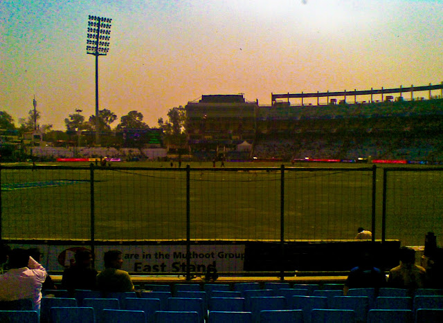Mobile Clicks of IPL Match between Delhi DareDevils and Chennai Super Kings on 19th March 2010 @ Firoz Shah Kotla, Delhi, INDIA: Posted by VJ on PHOTO JOURNEY @ www.travellingcamera.com : VJ, ripple, Vijay Kumar Sharma, ripple4photography, Frozen Moments, photographs, Photography, ripple (VJ), VJ, Ripple (VJ) Photography, VJ-Photography, Capture Present for Future, Freeze Present for Future, ripple (VJ) Photographs , VJ Photographs, Ripple (VJ) Photography : I don't follow cricket and but know few players who have big name in the world of Cricket. On Friday we had an office outing to Firoz Shah Kotla to watch IPL Match between Delhi DareDevils and Chennai SuperKings...Cameras were not allowed inside the stadium :(  But I managed with my Nokia Phone :): This Stadium was originally a fortress built by Sultan Ferozshah Tughlaq to house his version of Delhi city called Ferozabad. A pristine polished sandstone pillar from the 3rd century B.C. rises from the palace's crumbling remains, one of many pillars left by the Mauryan emperor Ashoka; it was moved from Punjab and re-erected in its current location in 1356. The Feroz Shah Kotla was established as a cricket ground in 1883. The first test match at this venue was played on November 10, 1948 when India took on the West Indies. Anil Kumble took 10 wickets in an inning on this ground in 1999, only the second time this feat has been achieved in test cricket. It is owned and operated by the DDCA (Delhi District Cricket Association). Since 2008 the stadium has been the home venue of the Delhi DareDevils of the Indian Premier League. On 27th December 2009, an ODI match between India and Sri Lanka called off because pitch conditions were classed as unfit to host a match. The ICC is currently conducting an investigation, and a possible sanction could include the Feroz Shah Kotla being rejected as a venue for the 2011 Cricket World Cup. : Sunset colors in the background of Firoz Shah Kotla...