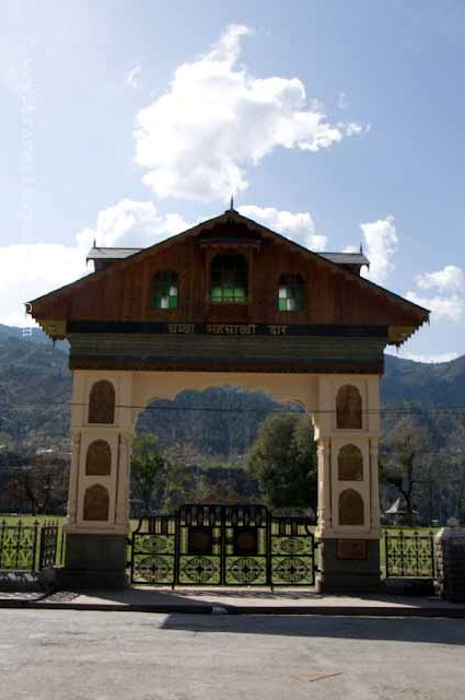 The town of Chamba is located at a distance of 56 kms from Dalhousie. Unlike Dalhousie, Chamba is located in a valley surrounded by majestic mountains and lies on the banks of the river Ravi. The town is also famous for the fact that a part of the Bollywood movie, Taal, was shot here. The market area in the town is not well-maintained and desparately cries out for a cleaning up. The colorful sloping roofs contrast well with the brown of the mountains and the deep blues of the sky. There is a vast green area right in front of the town. This is the garden that features in most of the Himachal pradesh Tourism Pictures of Chamba. When I visited Chamba, the green area was not open for public. Work was in progress for installing light posts and what looked like the entire population of the town was simply standing there and watching the labourers at work. These are the simple pleasures that you lose out on while living a super fast city life.All around the green area, there is a paved path. The place is ideal for an evening walk. I had Golgappas there. Not good as the ones we get in Delhi.These were the lights that were being installed in the green area. There were a few benches there leading me to believe that the garden does open up for the public some time. The Entrance. Among other attractions of Chamba is this Raja Bhuri Singh Museum which show cases several paintings, sculptures and weapons. The museum was established in 1908.Chamba, Himachal Pradesh, himalayas, Taal, Valley, Town, Museum,  Raja Bhuri Singh
