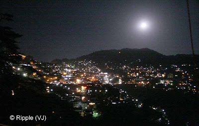 Shimla night view: Full moon in Shimla; Capital of Himachal Pradesh