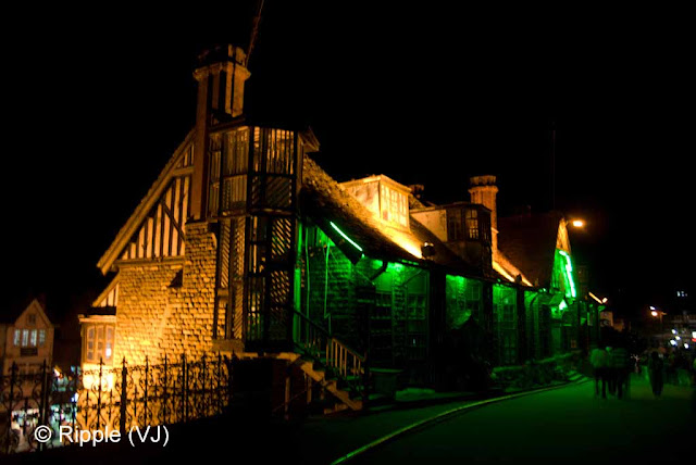 Posted by Ripple (VJ) : Shimla Night View : Other side view of Shimla Town Hall (This has been shot from the road which connects Ridge with Mall Road...)
