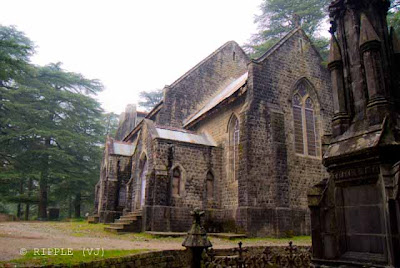 Posted by Ripple (VJ) : The Gothic stone building of the Church was constructed in 1852. The site also has a memorial of the British Viceroy Lord Elgin, and an old graveyard. The church building is also noted for its Belgian stained-glass windows donated by Lady Elgin.: Mcleoganj, Mcloedgaj, Dharmshala, Himachal Pradesh, Saint John Chruch, India, British times, ripple, Vijay Kumar Sharma, ripple4photography, Frozen Moments, photographs, Photography, ripple (VJ), VJ, Ripple (VJ) Photography, Capture Present for Future, Freeze Present for Future, ripple (VJ) Photographs , VJ Photographs, Ripple (VJ) Photography : View from back side of St. John's Church @ Mcleodganj, Himachal Pradesh.