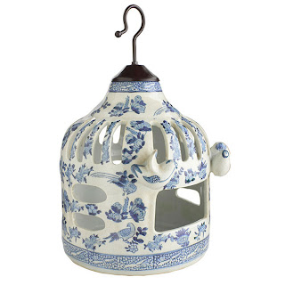 Wisteria Blue and White Ceramic Bird Feeder