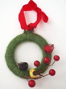 Vinatge Yarn Wreath Ornament