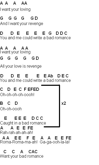 Flute Sheet Music Bad Romance
