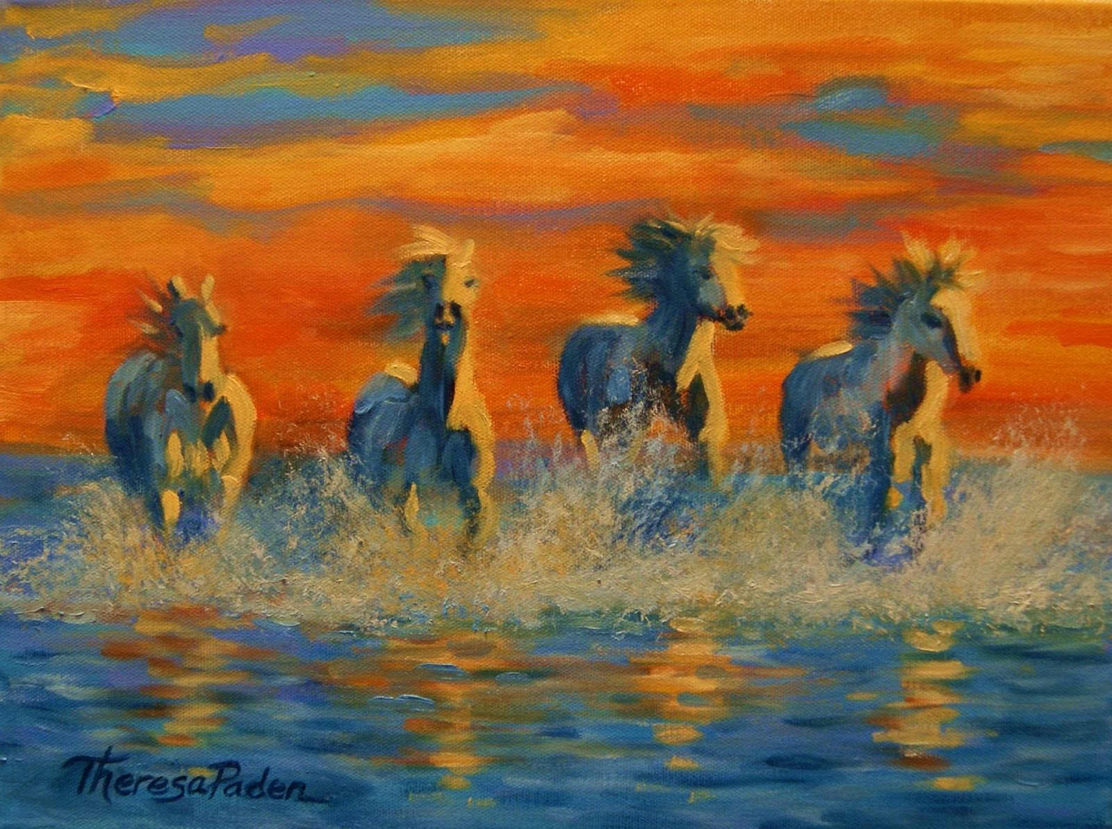 Horses in the Sea at Sunset""