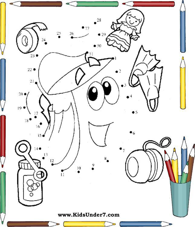 Kids Under 7 Dot To Dot Worksheets For Kids