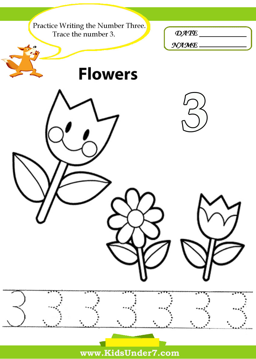 Kids Under 7 Number Tracing 1 10 Worksheet Part 1