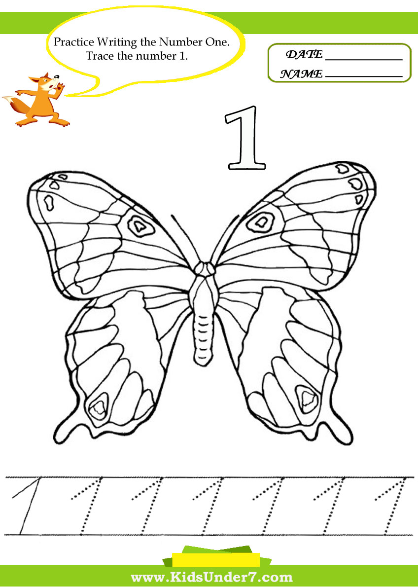 Kids Under 7 Number Tracing 110 Worksheet Part 2 – Number 1 Worksheet