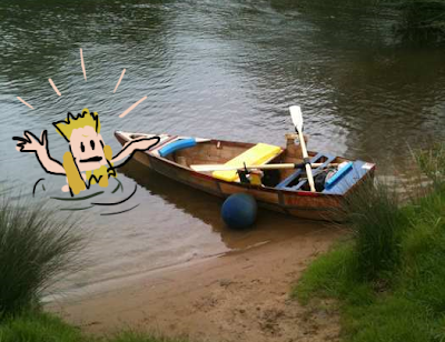 James Bowthorpe takes a break from rowing down the Thames in a boat made of rubbish