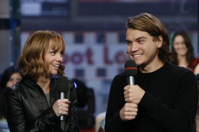 Photos of Christina Ricci with Emile Hirsch at MTV TRL on 5th May 2008.