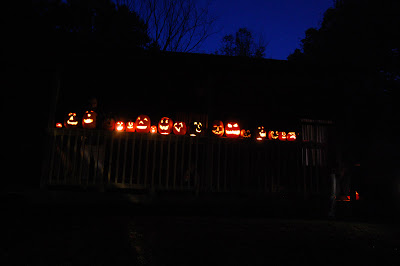 A line of lighted jack-o-lanterns at night.