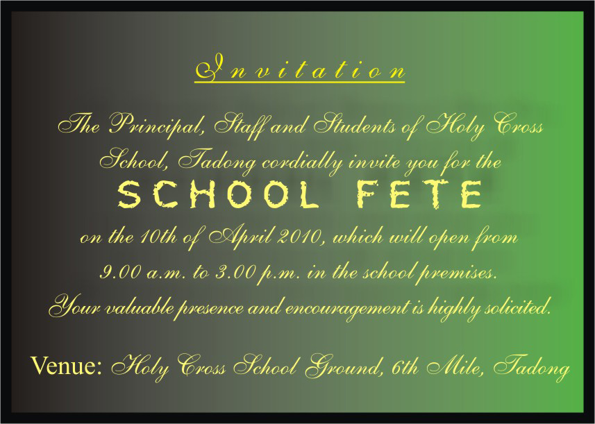 Holy Cross School Fete Invitation