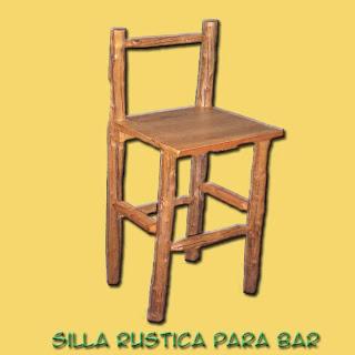 Muebles y artesanias madera nativa silla bar rustica cipres for Sillas rusticas para bar