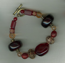 Red and Antique Gold Bracelet
