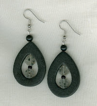 Black Wooden Earrings with Speckled Beads