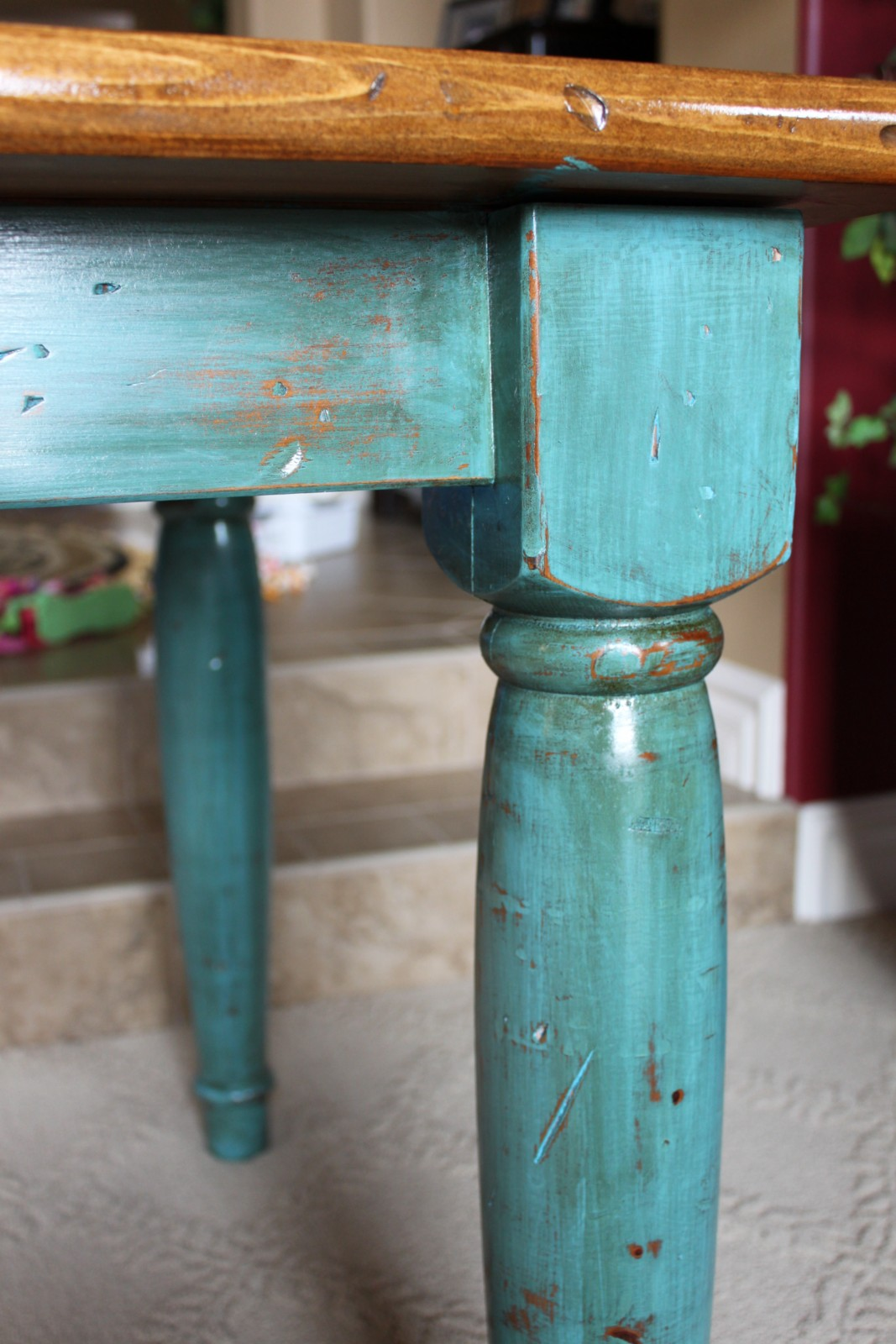 Reinvented Treasures Inc Rustic Turquoise Table Or Desk