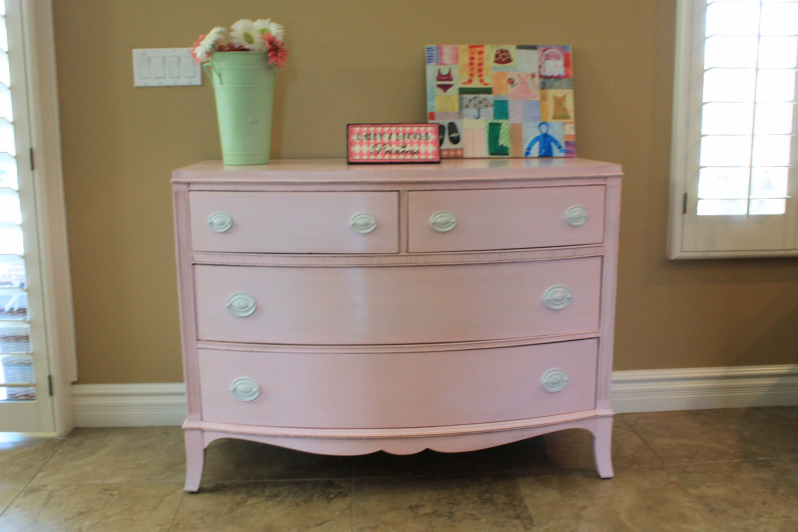 reinvented treasures inc pink dresser changing table. Black Bedroom Furniture Sets. Home Design Ideas