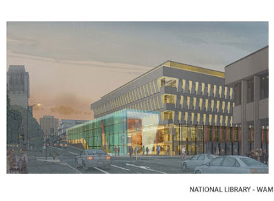 Rendering of National Library addition
