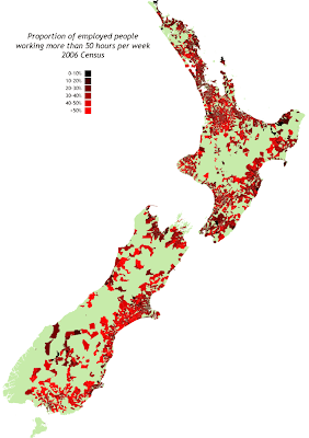 Proportion of employed people working more than 50 hours per week - All NZ, 2006 census