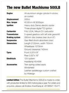 Bullet Machismo 500 LB Tech Specs