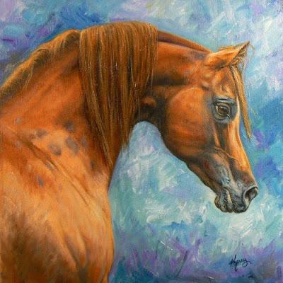 Horse art, Equine art, for sale.: Red Arabian Stallion by ...