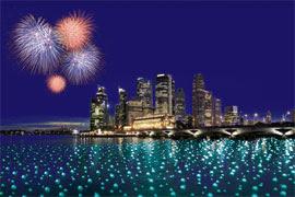 Lighted Wish Sphere @ Marina Bay City Skyline