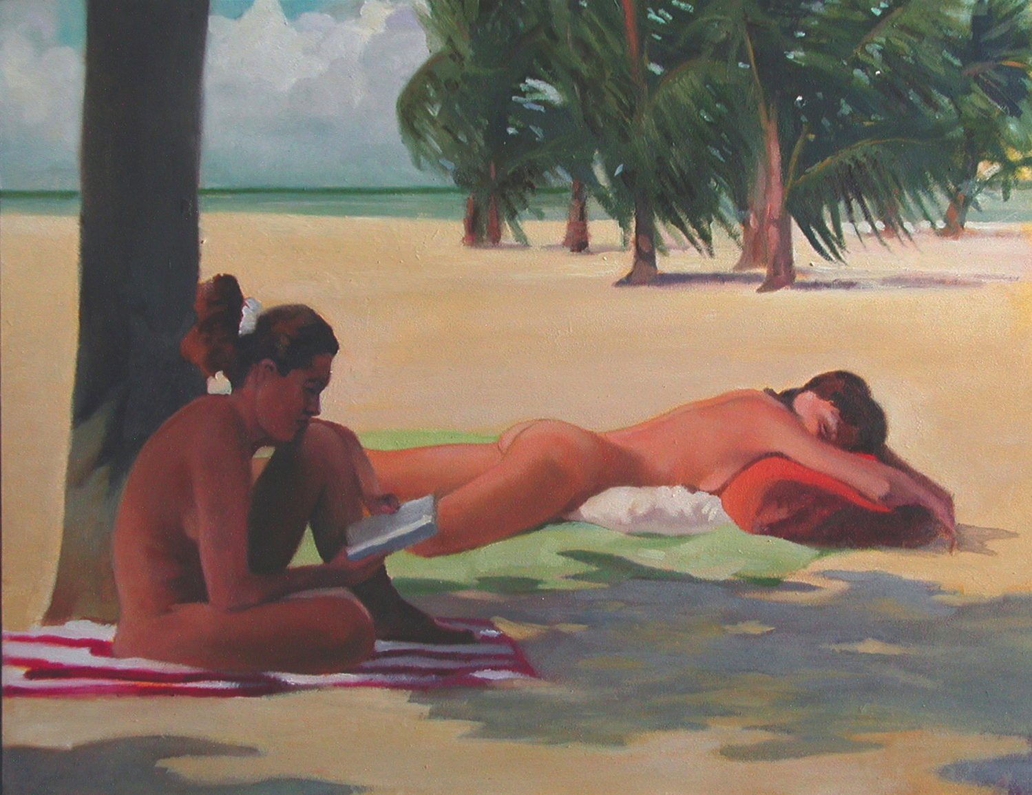 Nude sunbathers oil on panel 14x18 inches