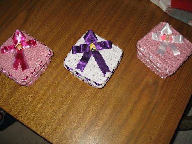 Caixinhas feita em Crochê...