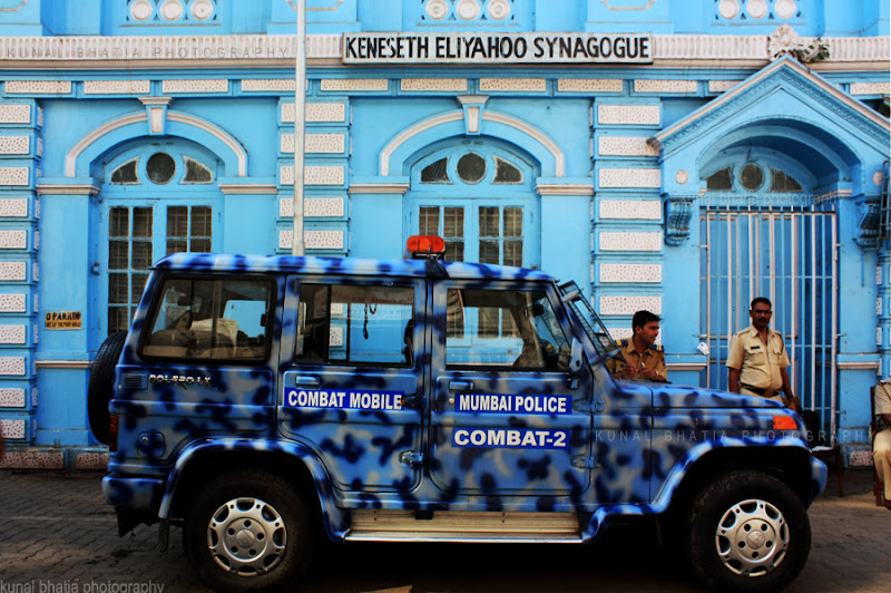 mumbai police van outside the jewish keneseth eliyahoo synagogue in fort in mumbai by kunal bhatia