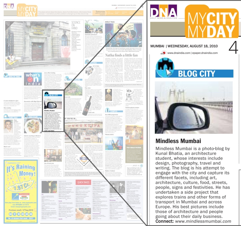 mindless mumbai featured in a newspaper dna india by kunal bhatia photo blog