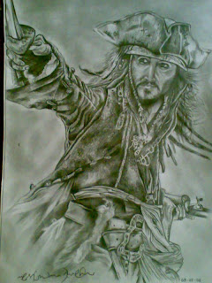 Stone Age.. Man Vs Beast - Captain Jack Sparrow - Pencil sketches -drawings - Actors - Animals - strokes