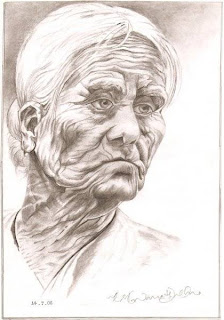 Die young as late as possible wrinkle age heart skin Grapthite Pencil on Paper A4- 8.27''x 11.69'' Pencil Sketching Artwork old man portrait drawing human faces