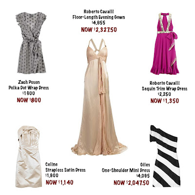 Dress spread from Net-A-Porter, Roberto Cavalli cream floor length gown, Roberto Cavalli purple dress with gold sequin trim, Giles black and white stripe dress, Zach Posen gray polka-dot wrap dress, Celine cream strapless dress