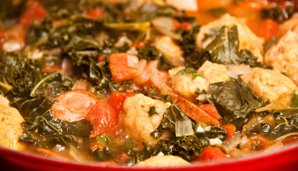 Bite Full of Life: Greens and Sausage Soup with Cornmeal Dumplings