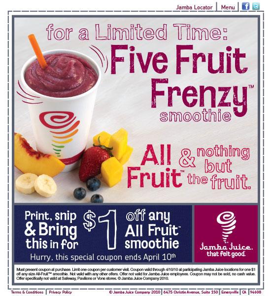 image about Jamba Juice Printable Coupon identify Jamba Juice Coupon: $1 Off All Fruit Smoothie! - \
