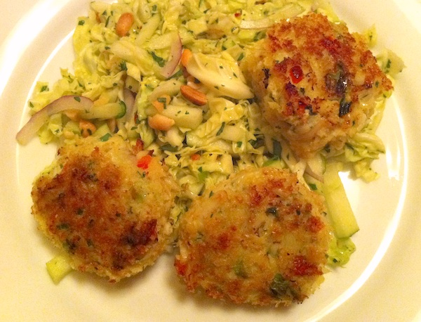 Michel's Thai-ish Crab Cakes with Apple Cabbage Slaw