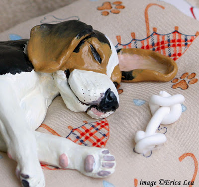 beagle sculpture, dog sculpt, art, polymer clay, nature visions
