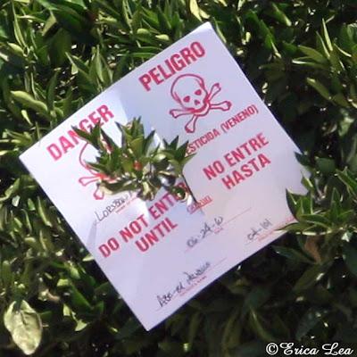 pesticide sign, danger