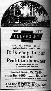 Fancy a Chevrolet for Rs. 2700? Well there's the Coach for Rs. 3600 and Sedan for Rs. 3900. But then it was in the 1920s, else I would've had one for each day of the week.