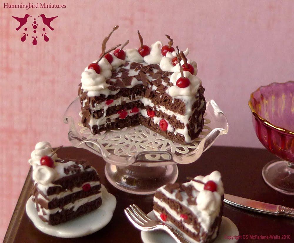 Hummingbird Miniatures: NEW! Black Forest Gateau Cake