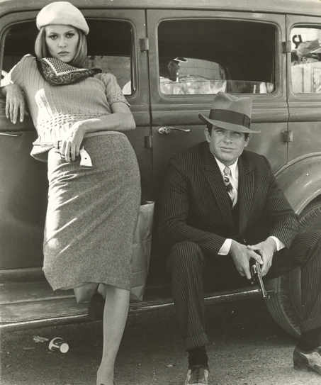 crime scene photo of Bonnie and Clyde's bodies and bullet ridden car