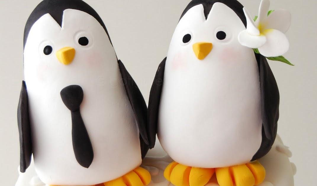 Bride And Groom Penguin Cake Topper