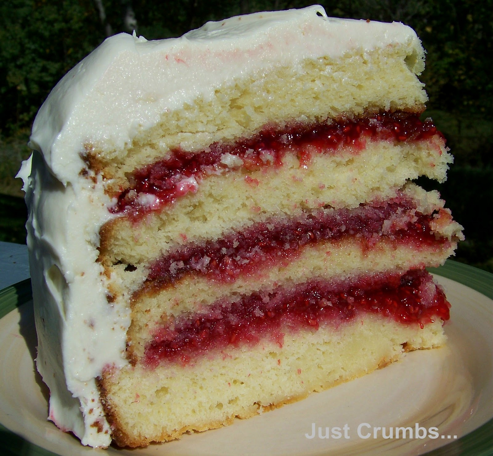 Just Crumbs...: White Chocolate Cake with Raspberry Filling