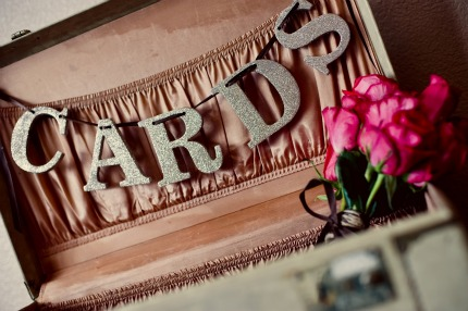 with gorgeous vintage details like the suitcase turned card box above