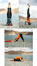 Brni Samita practicing Asanas in Pangong Lake