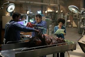 FRINGE: Walter (John Noble, C) works with Peter (Joshua Jackson, L) and Astrid (Jasika Nicole, R) to examine evidence in the FRINGE episode The Transformation